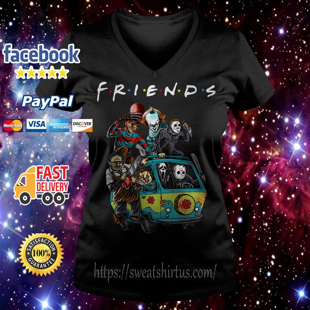 Car Horror characters movie Friends TV Show V-neck T-shirt
