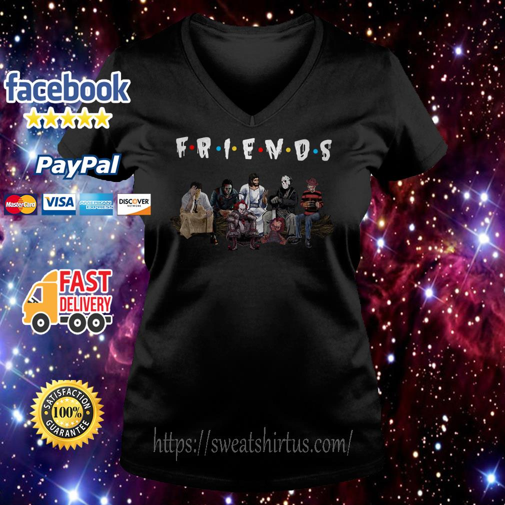 Halloween Friends TV Show horror movie characters and Jesus  V-neck T-shirt