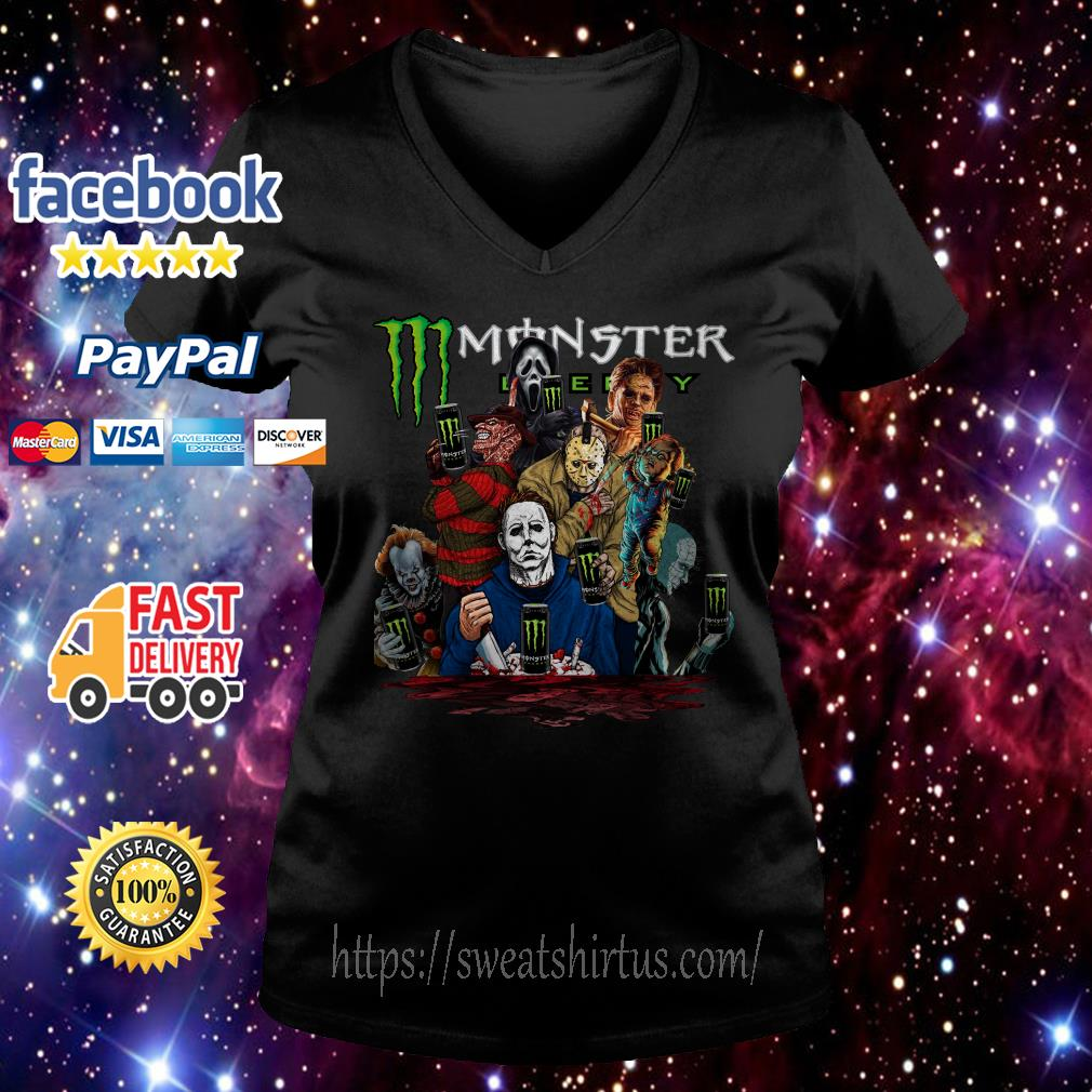 Horror characters movies Monster Energy V-neck T-shirt
