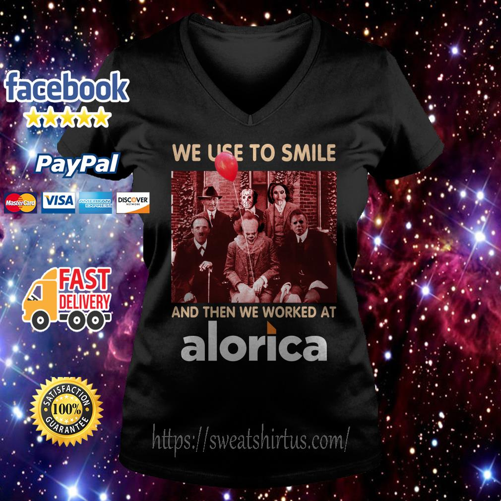Horror characters movies we use to smile and then we worked at Alorica V-neck T-shirt
