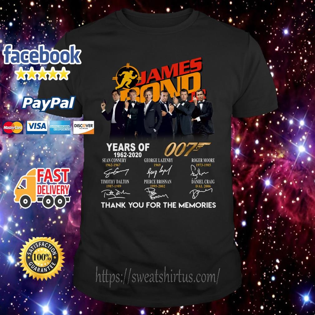 James Bond years of 007 1962-2020 signatures shirt