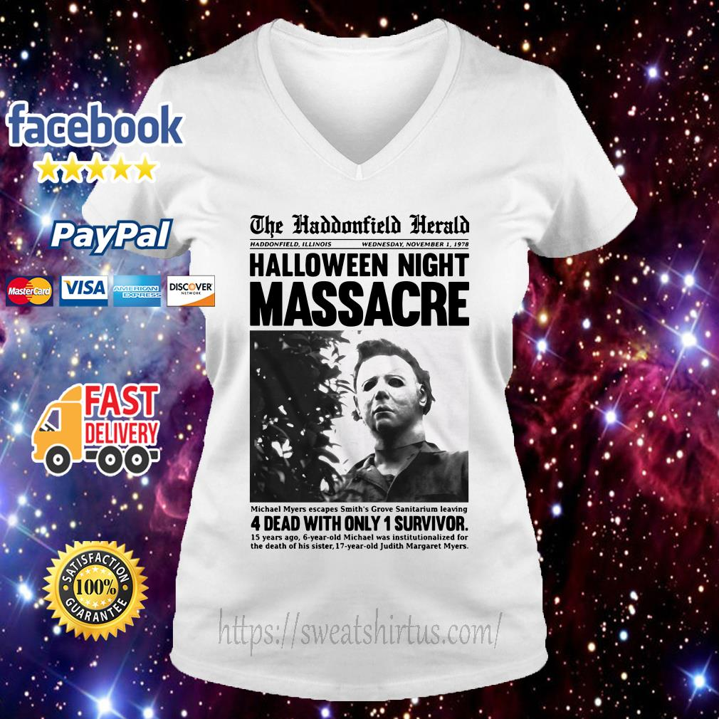 Michael Myers in the Haddonfield Herald newspaper V-neck T-shirt