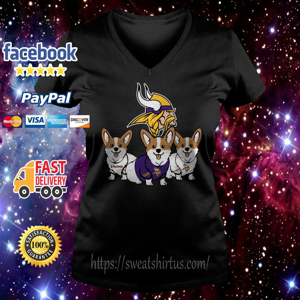 Pembroke Welsh Corgi Minnesota Vikings V-neck T-shirt