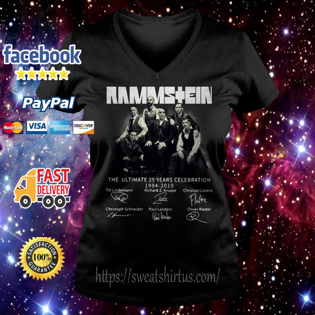 Rammstein the ultimate 25 years celebration 1994-2019 signatures V-neck T-shirt