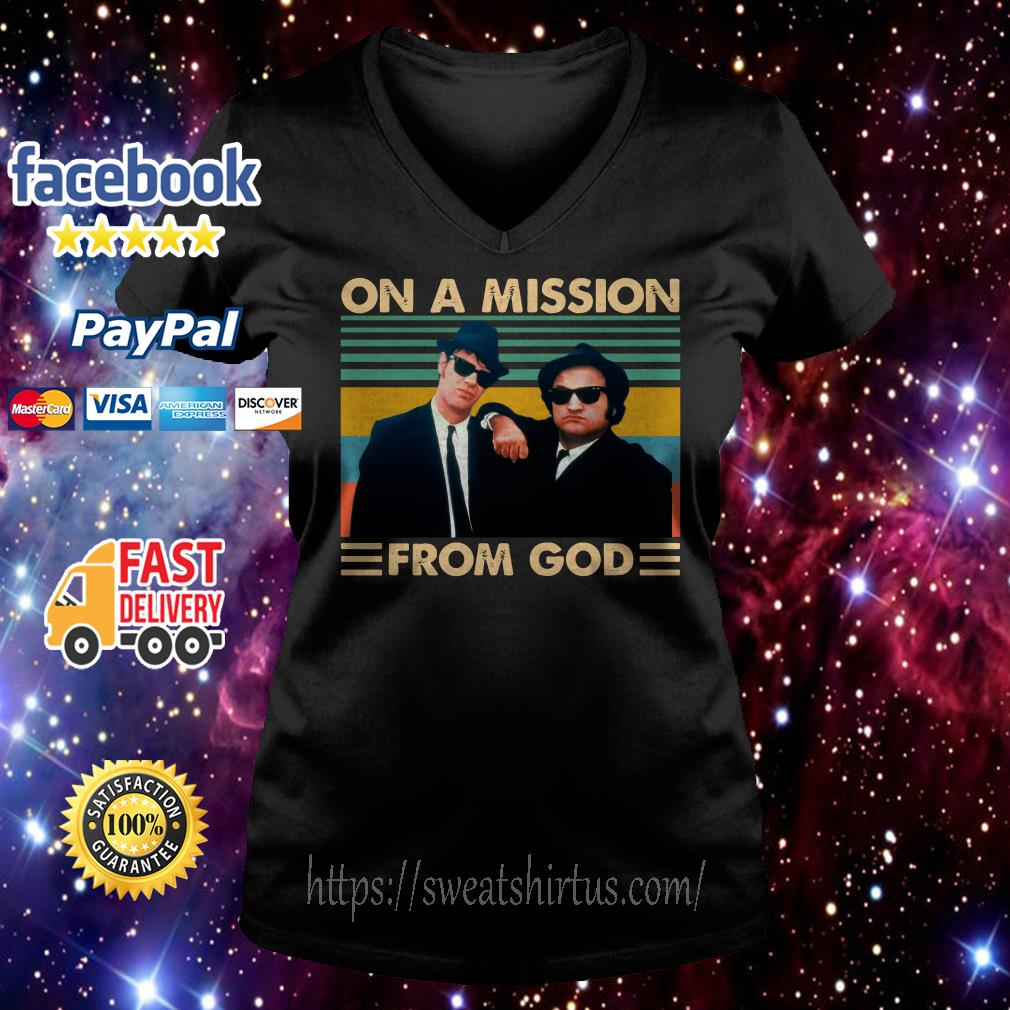 The Blues Brothers On a mission from god vintage V-neck T-shirt