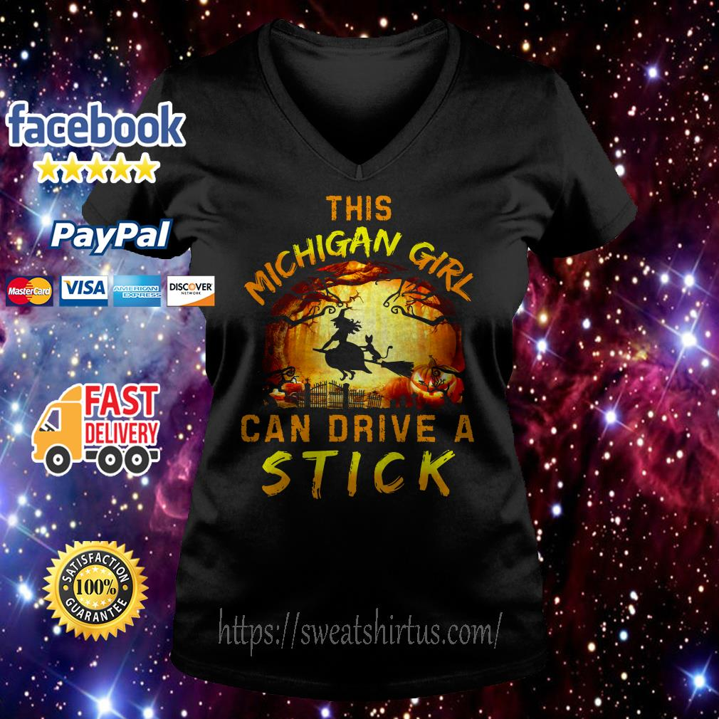 This Michigan girl can drive a stick Halloween  V-neck T-shirt