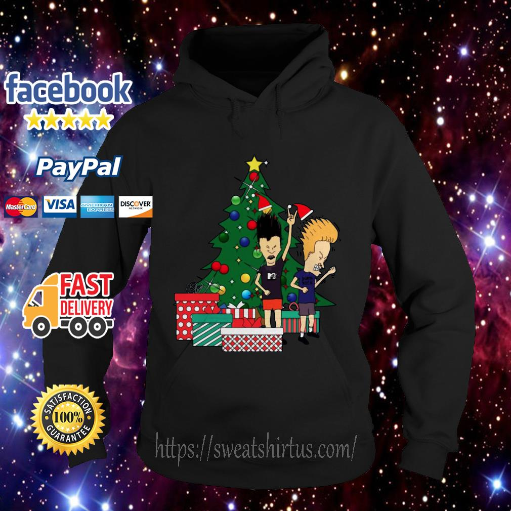 Beavis And Butthead Around The Christmas Tree ugly sweat Hoodie