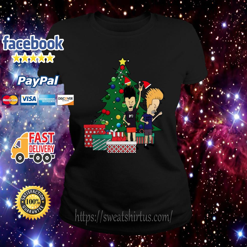 Beavis And Butthead Around The Christmas Tree ugly sweat Ladies Tee