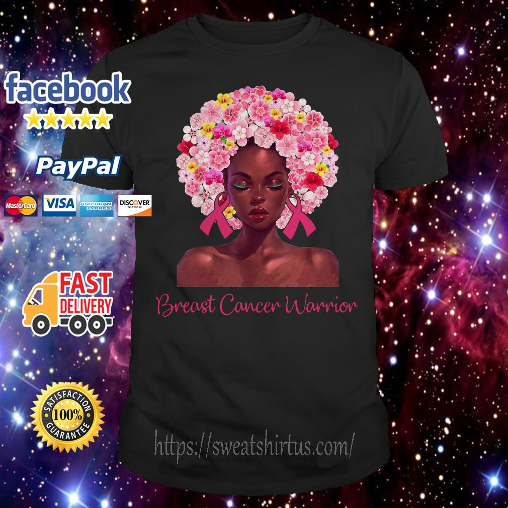 Breast Cancer Warrior black women floral hair shirt