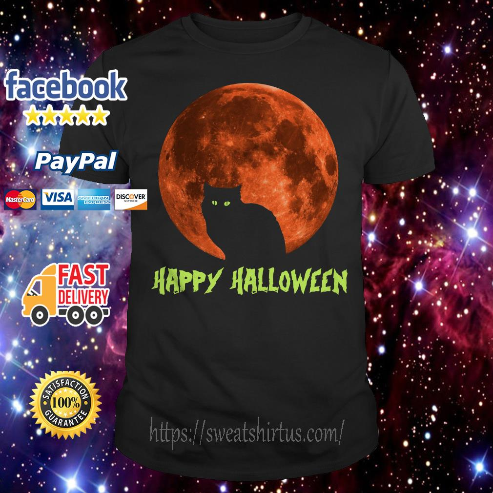 Cat on the moon happy Halloween shirt