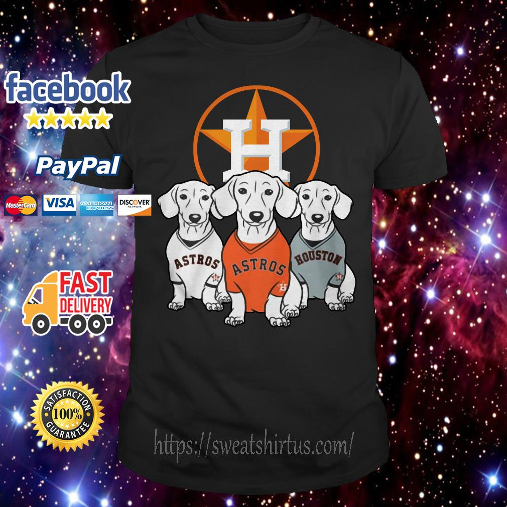 Dachshund and Houston Astros team shirt