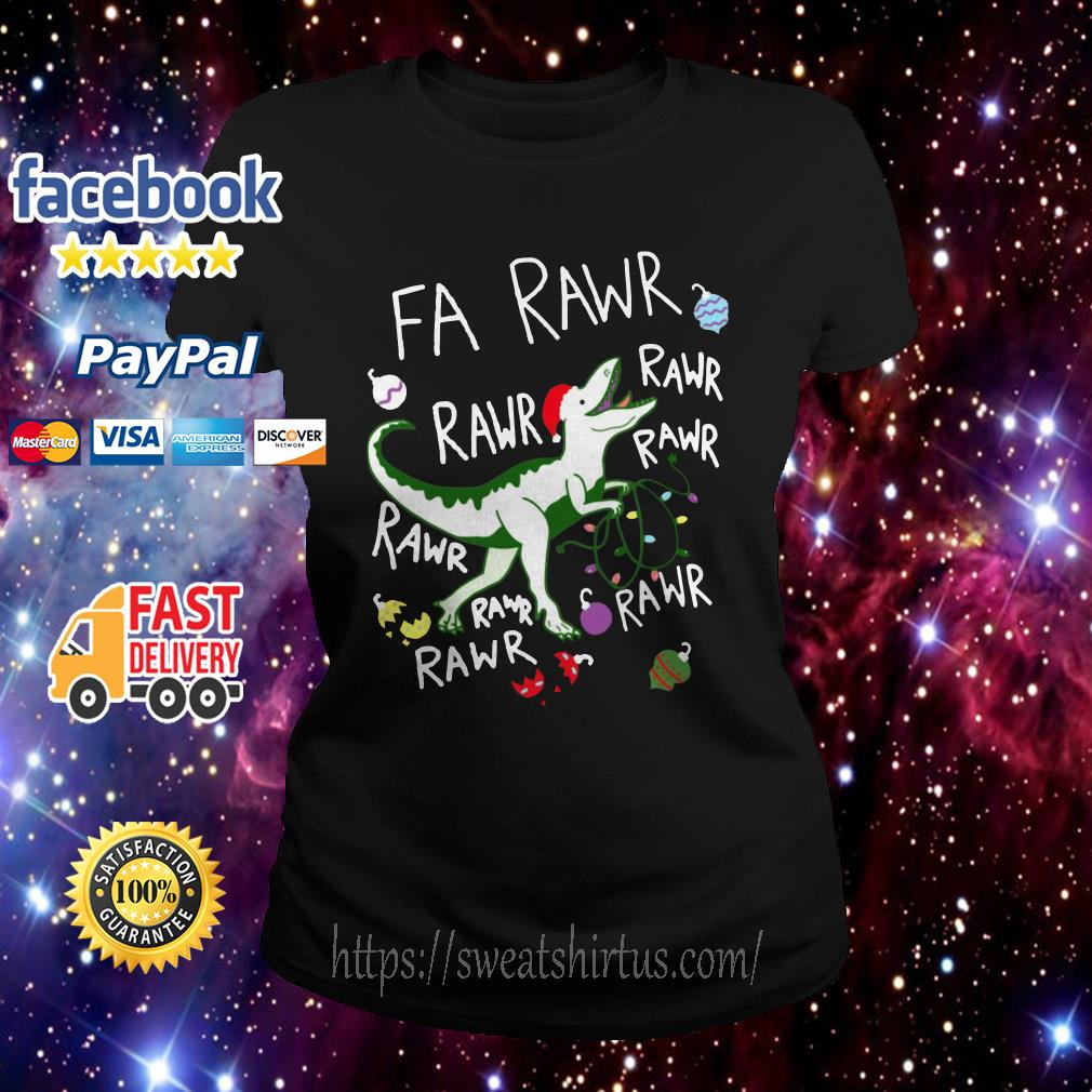 Dinosaur Rawr Rawr Rawr Christmas ugly sweat Ladies Tee