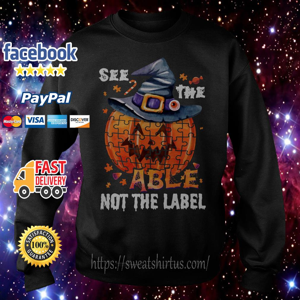 Halloween Autism awareness pumpkin See the able not the label Sweater