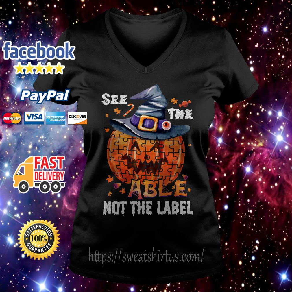 Halloween Autism awareness pumpkin See the able not the label V-neck T-shirt