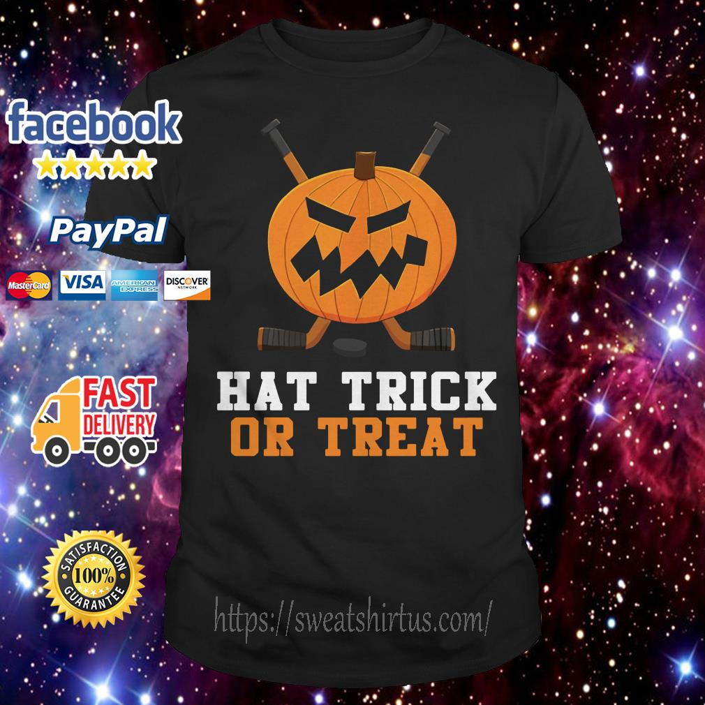 Hockey pumpkin hat trick or treat Halloween shirt