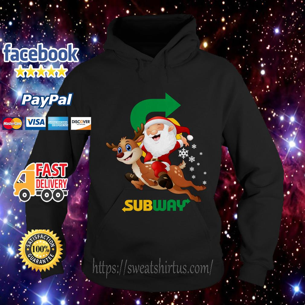 Santa Claus riding reindeer Subway Hoodie