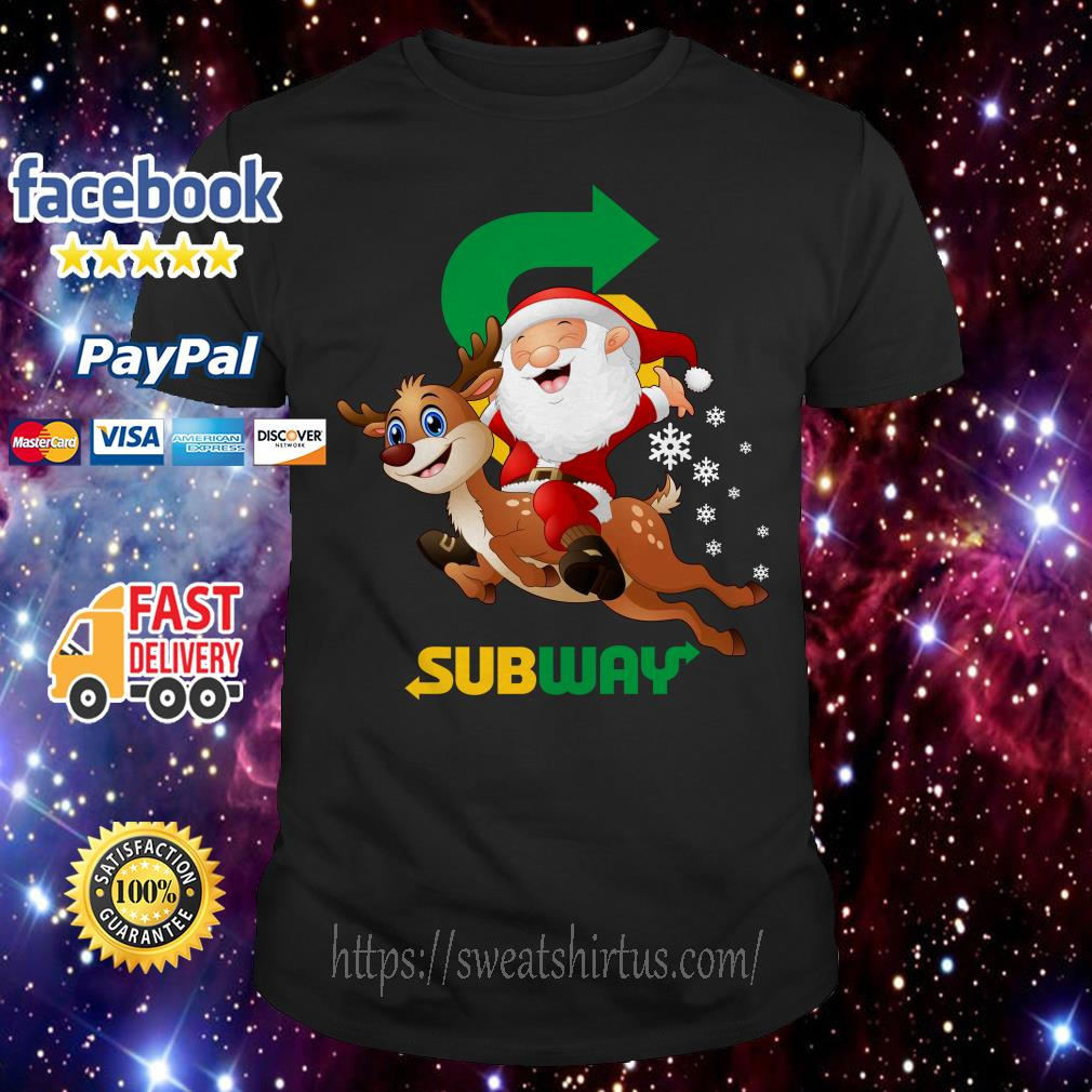 Santa Claus riding reindeer Subway shirt