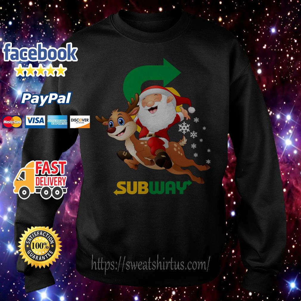Santa Claus riding reindeer Subway Sweater
