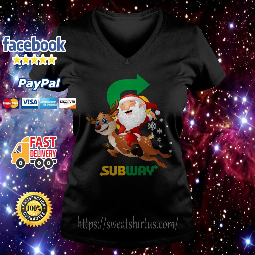 Santa Claus riding reindeer Subway V-neck T-shirt