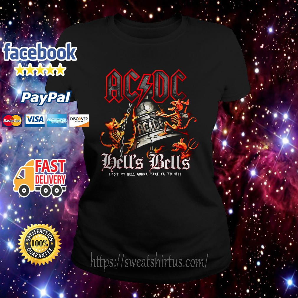 ACDC Hell's Bells I got my bell gonna take you to hell Ladies Tee