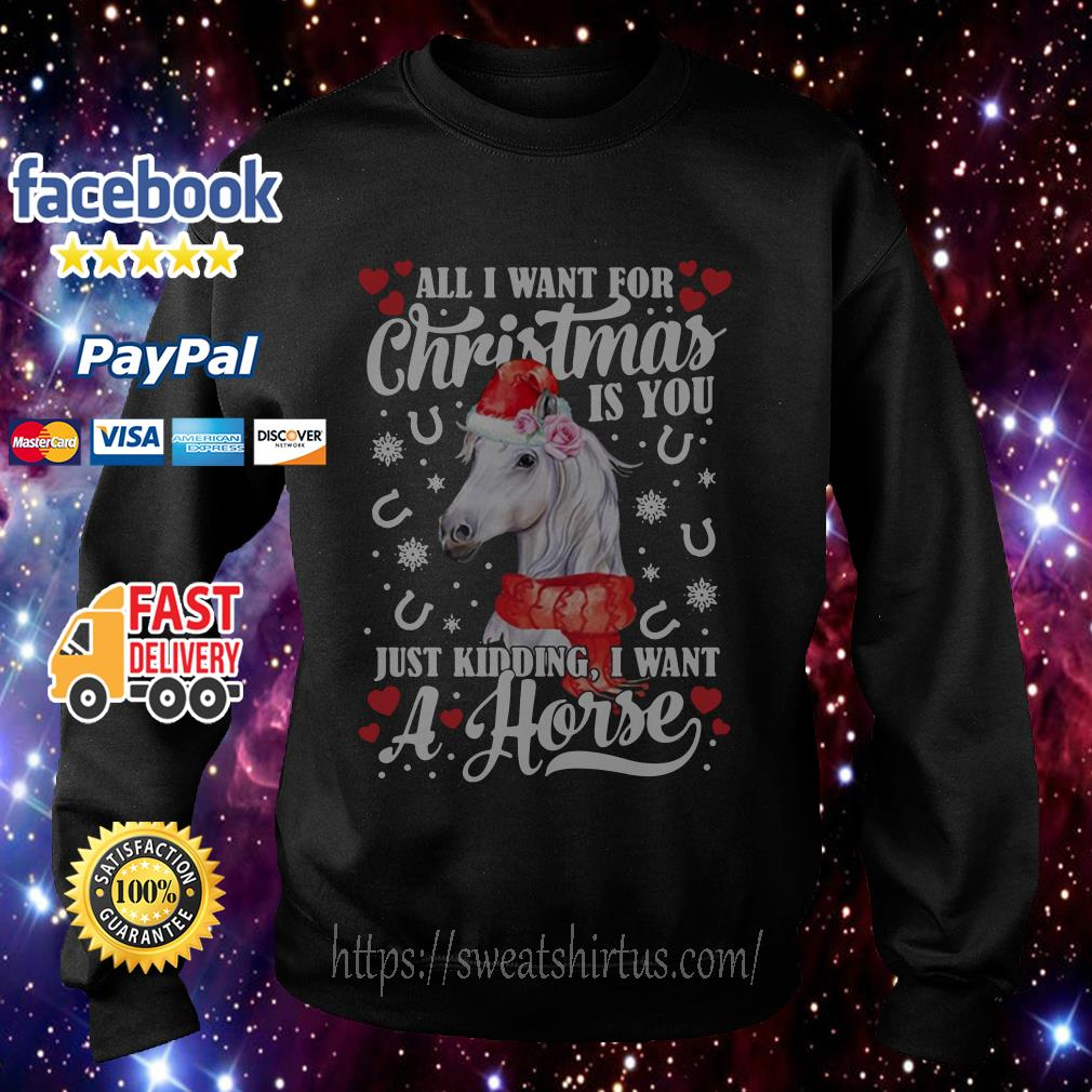 All I want for Christmas is you just kidding I want a horse shirt, sweater