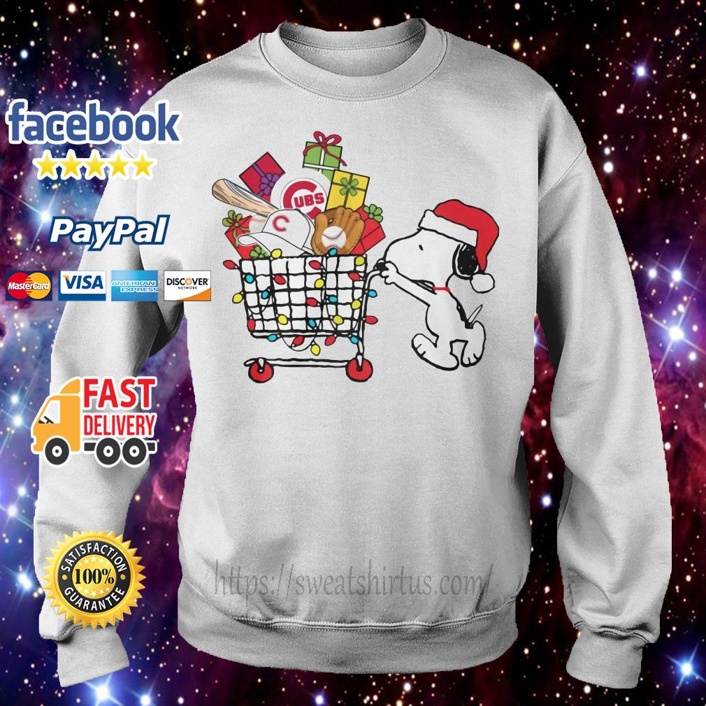 Chicago Cubs Snoopy Pushing cart full of Christmas gifts shirt, sweater