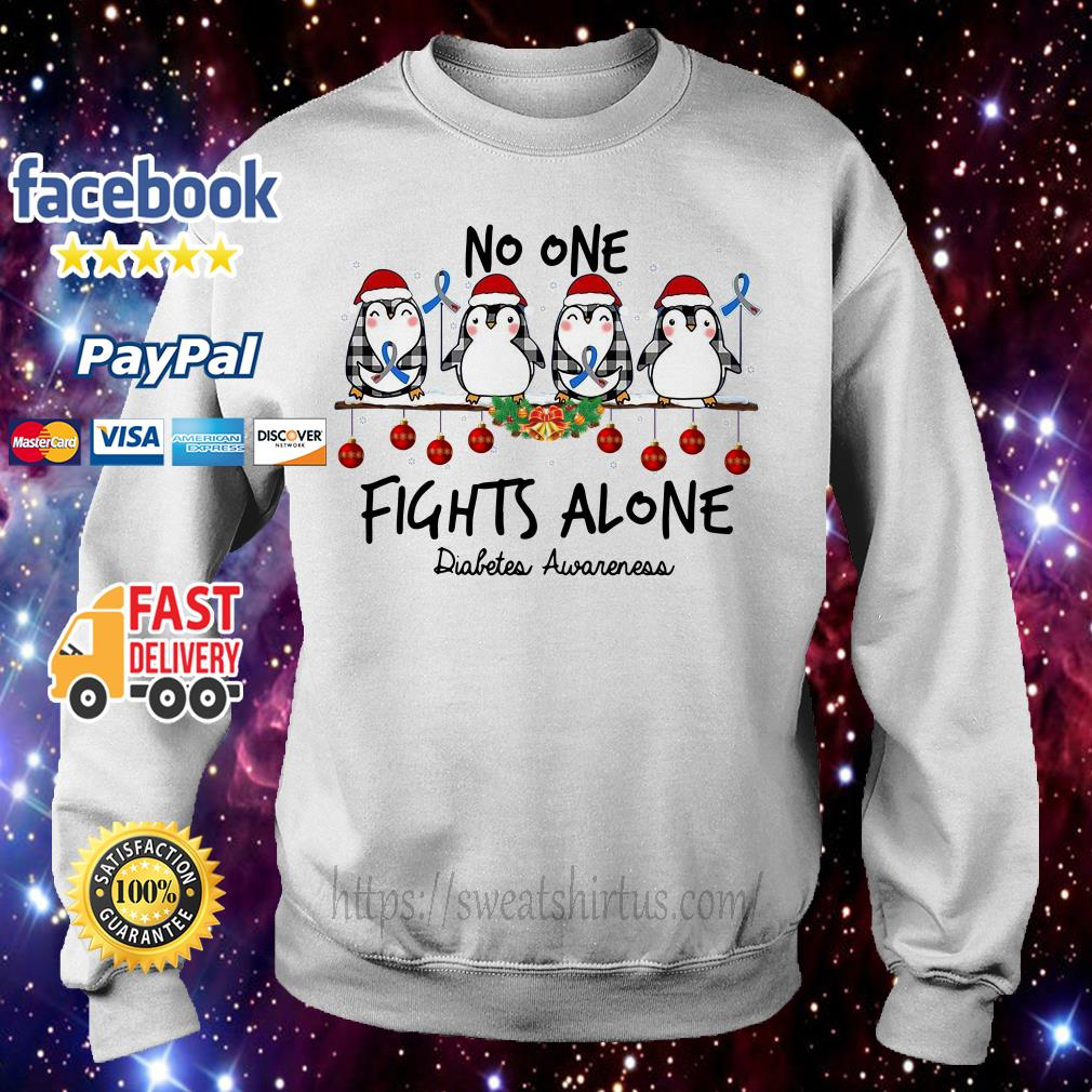 Christmas Penguins no one fights alone diabetes awareness Sweater