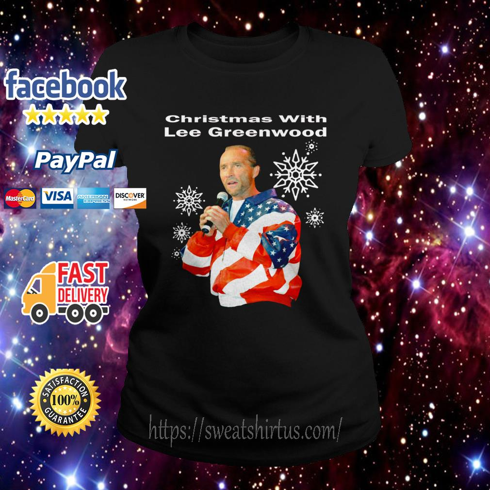 Christmas with Lee Greenwood America flag Ladies Tee