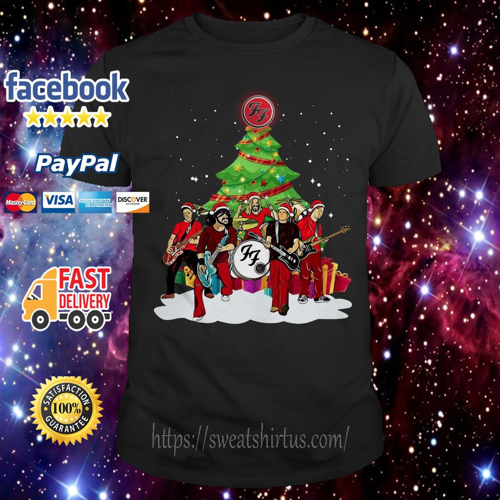 Foo Fighters Rock Band Santa Christmas tree guys shirt