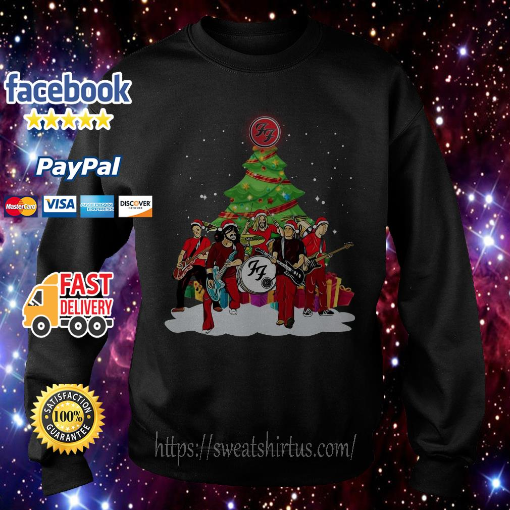 Foo Fighters Rock Band Santa Christmas tree shirt, sweater