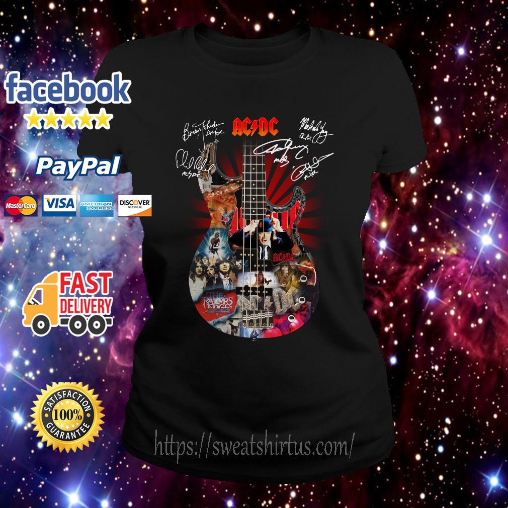 Guitar AC/DC Highway to Hell signatures Ladies Tee