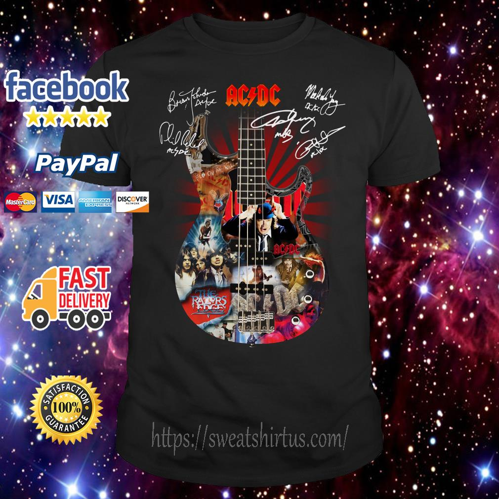 Guitar AC/DC Highway to Hell signatures shirt