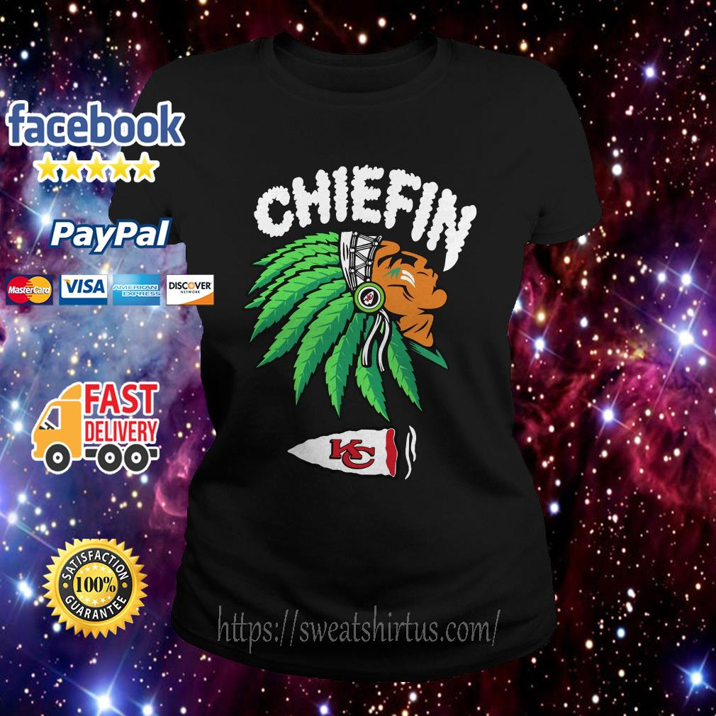 Kansas City Chiefs Chiefin weed smoking Indian Ladies Tee