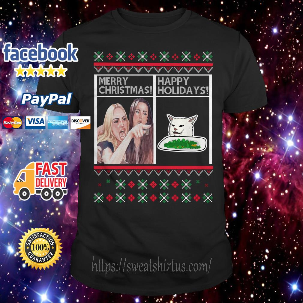 Merry Christmas Happy Holidays Woman Yelling at a Cat meme guys shirt