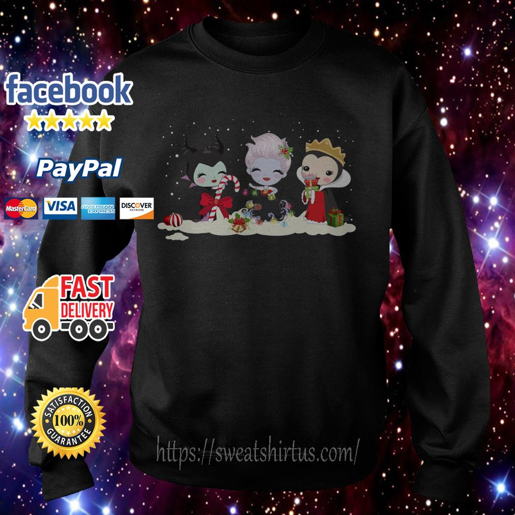Merry Christmas Maleficent Ursula and Evil Queen chibi characters shirt, sweater