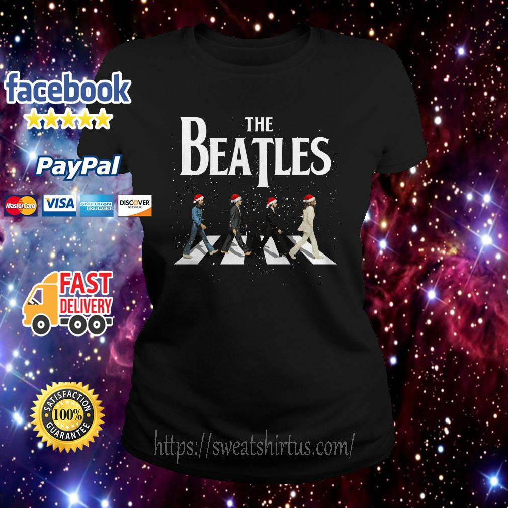 Merry Christmas The Beatles Abbey Road ugly sweat Ladies Tee