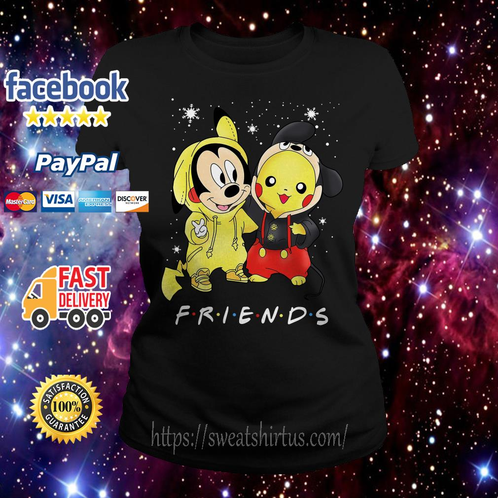 Mickey Mouse and Pikachu Friends TV Show Christmas Ladies Tee