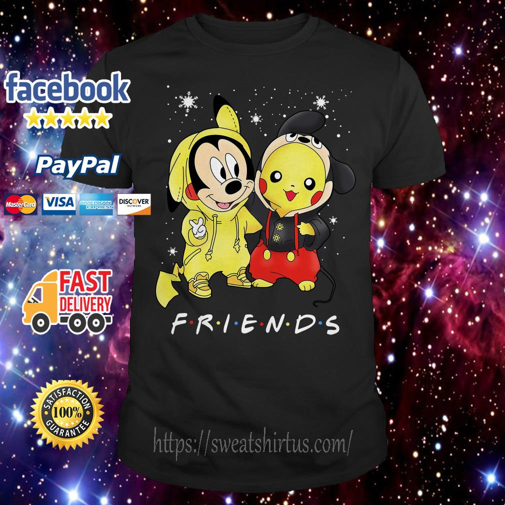 Mickey Mouse and Pikachu Friends TV Show Christmas guys shirt