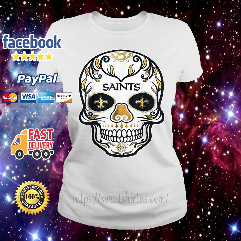 New Orleans Saints Skull tattoos Feel Dat Brees Football Ladies Tee