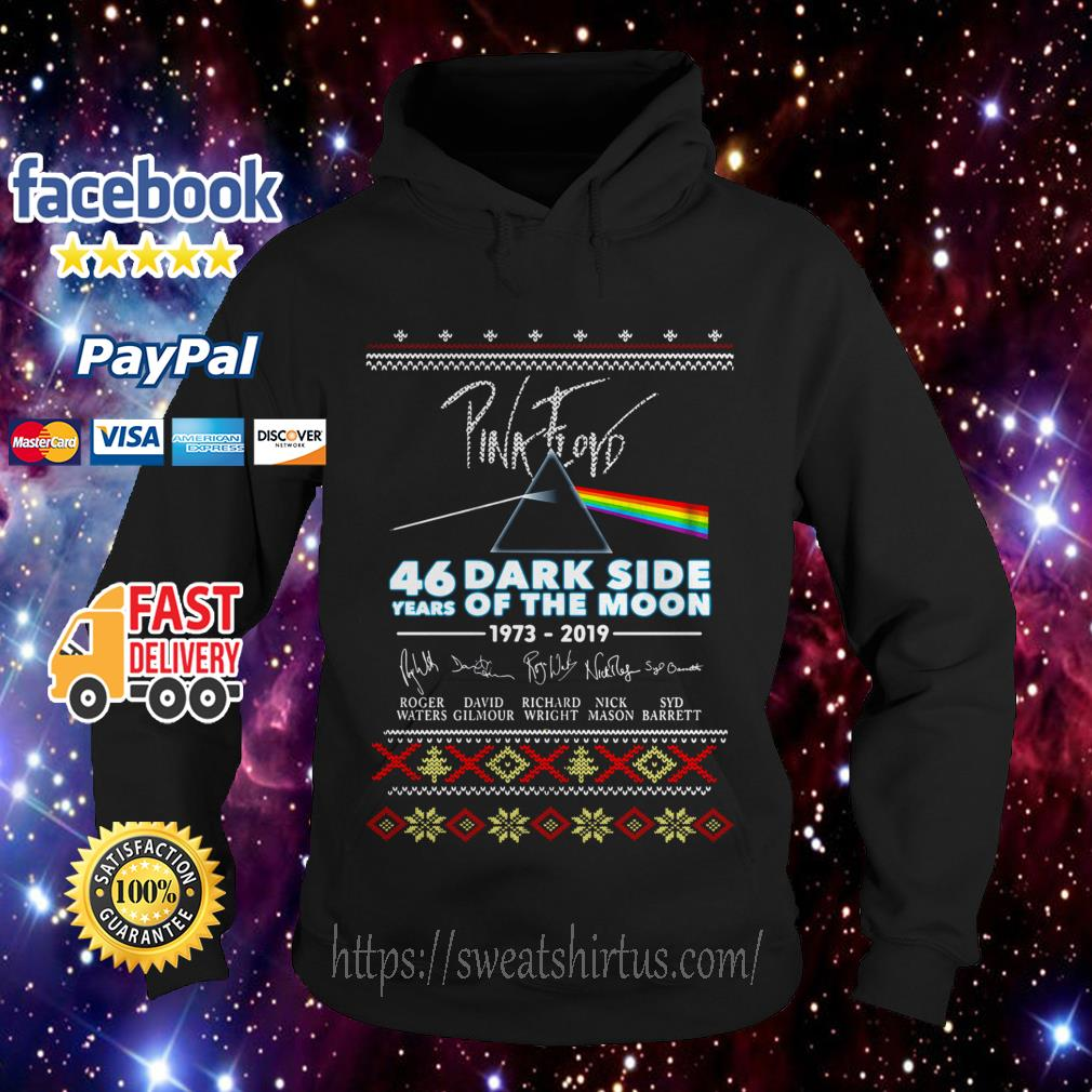 Pink Floyd 46 years of Dark Side Of The Moon 1973-2019 signature Christmas Hoodie