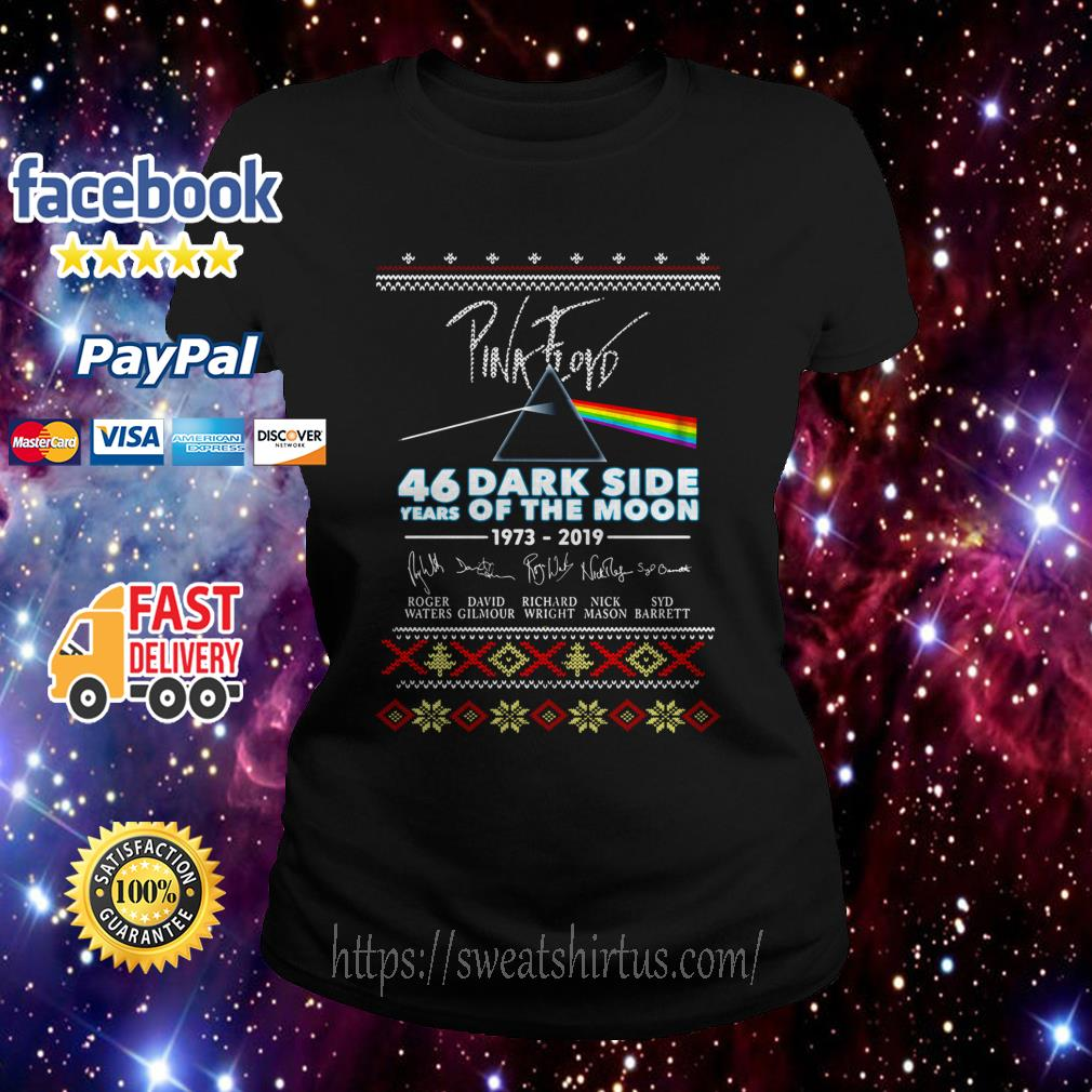 Pink Floyd 46 years of Dark Side Of The Moon 1973-2019 signature Christmas Ladies Tee