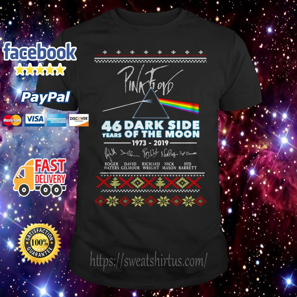 Pink Floyd 46 years of Dark Side Of The Moon 1973-2019 signature Christmas guys shirt