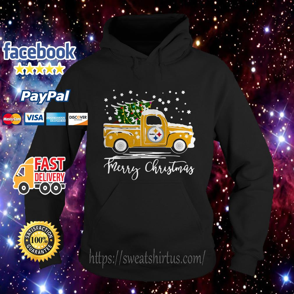 Pittsburgh Steelers pickup truck Merry Christmas Hoodie