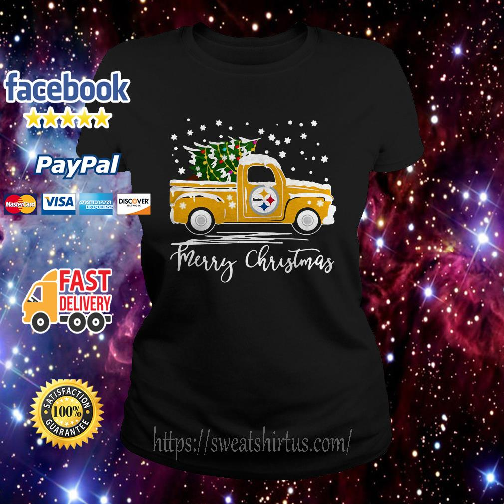 Pittsburgh Steelers pickup truck Merry Christmas Ladies Tee