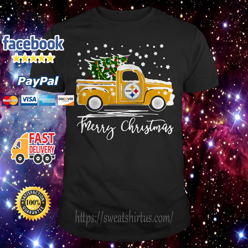 Pittsburgh Steelers pickup truck Merry Christmas guys shirt