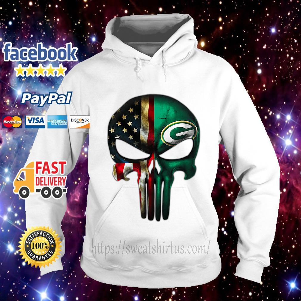 Skull American flag Veterans and Green Bay Packers Hoodie