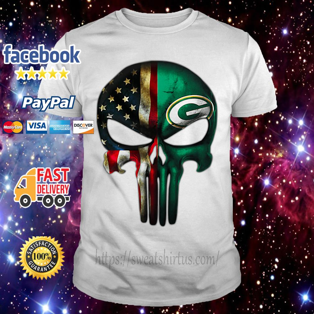 Skull American flag Veterans and Green Bay Packers shirt
