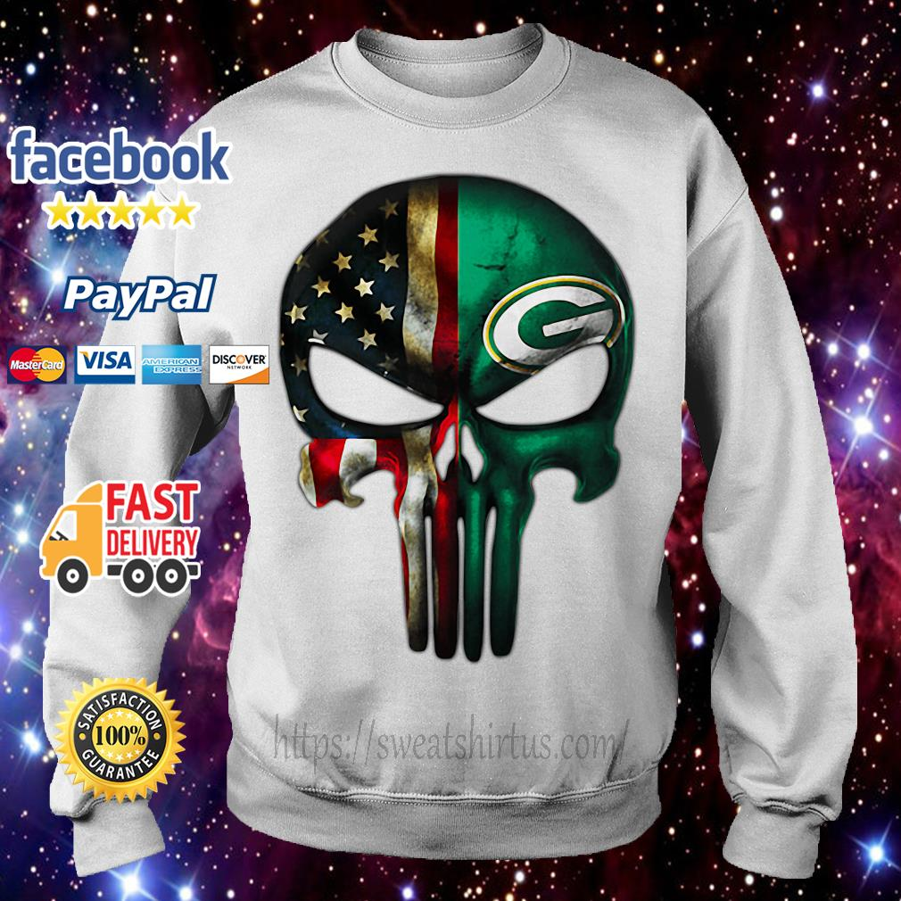 Skull American flag Veterans and Green Bay Packers Sweater