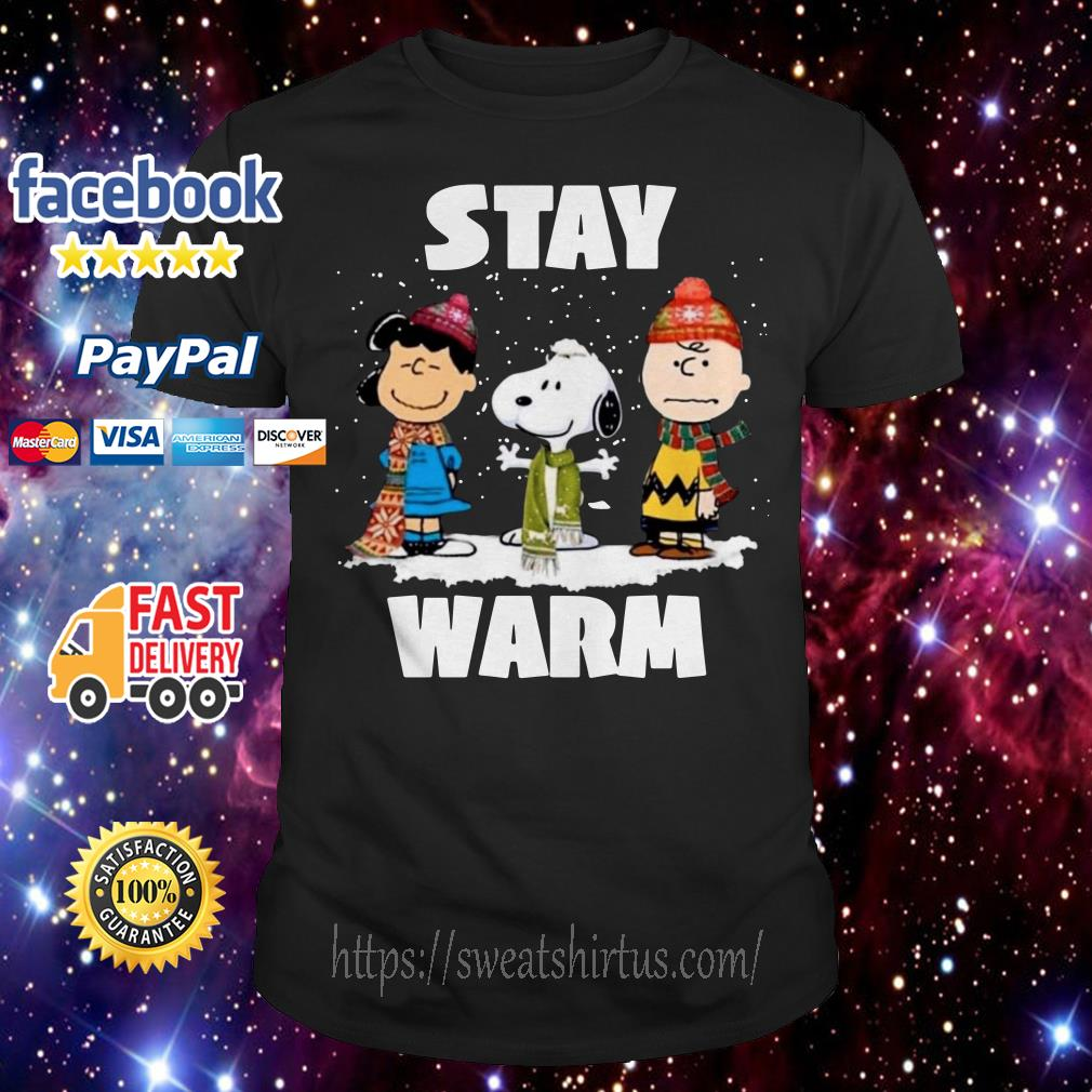 Stay warm Lucy Snoopy Charlie Brown friend Christmas guys shirt
