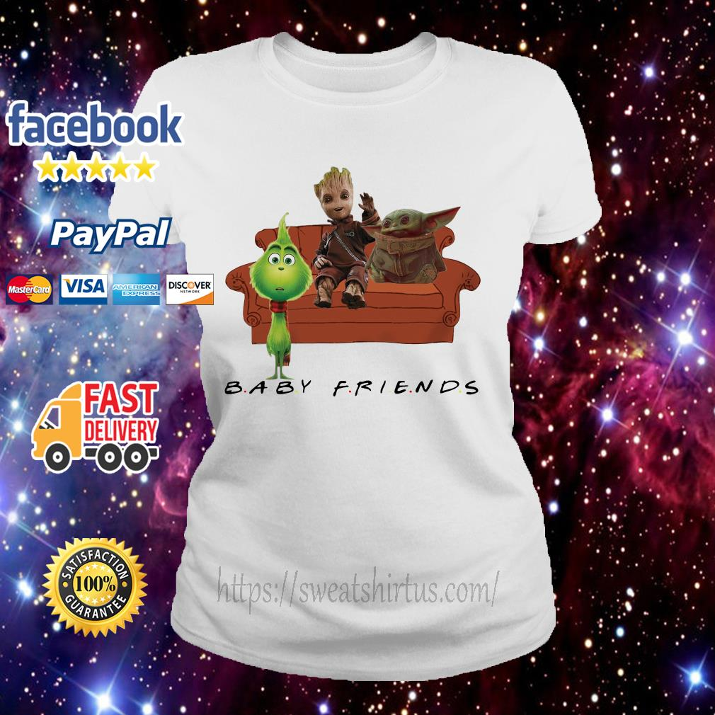 Baby Friends Baby Yoda Baby Grinch and Baby Groot Ladies Tee